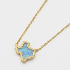 Jewelry - Opalescent Texas Gold & Aqua Pendant Necklace